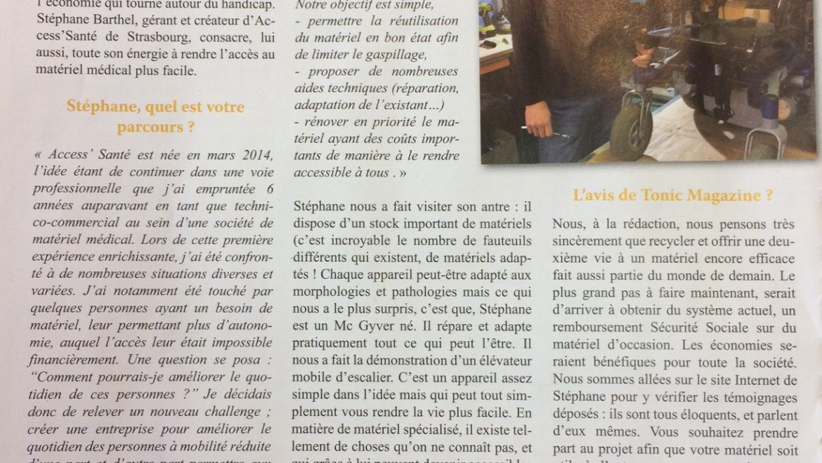 Article paru dans le magazine « Tonic »